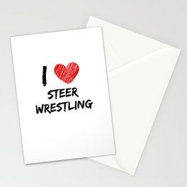 I Love Steer Wrestling Stationery Cards