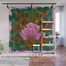 LEAFY PINK ROSE GARDEN & COFFEE BROWN ART Wall Mural