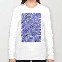 navy Long Sleeve T-shirts featuring Tropical Navy by Cat Coquillette