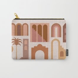 Mid Century Modern Minimalist Ancient Ruins Vases Terracotta Pastel Hues Architecture Carry-All Pouch