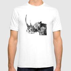 Rhinoceros, black and white MEDIUM White Mens Fitted Tee