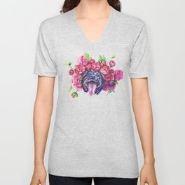 Dog smiles in the peonies Unisex V-Neck
