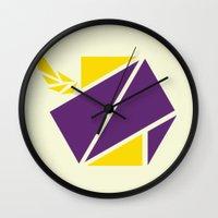 hexagon Wall Clocks featuring Hexagon by Melis Kalpakçıoğlu