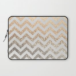 GOLD & SILVER CHEVRON Laptop Sleeve