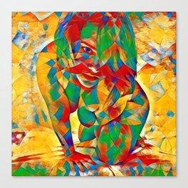 3334s-SRC Abstract Woman with Blue Eyes Rendered in Color and Style Canvas Print