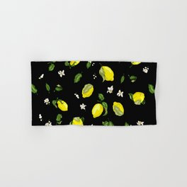 Black background pattern with lemons and flowers Hand & Bath Towel