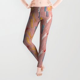 Colorful Ski Illustration and Pattern no 2 Leggings