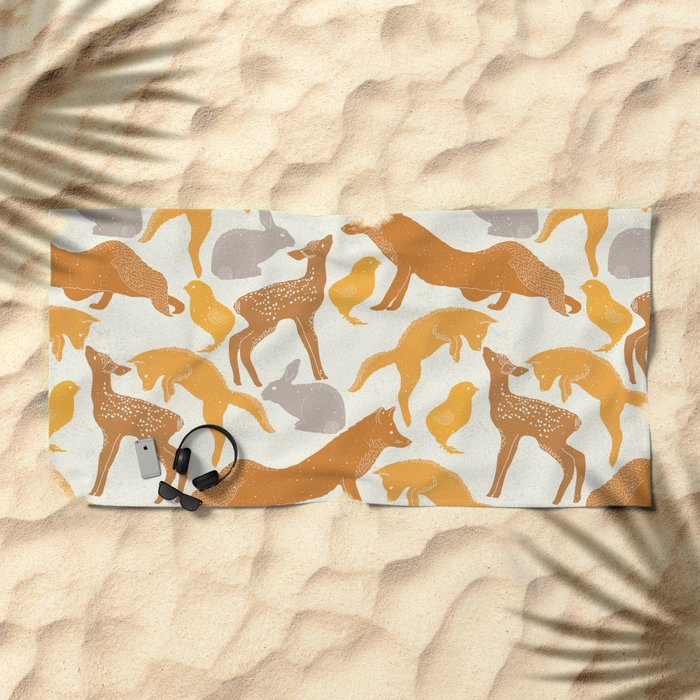 Deer Fox Rabbit Chick Playing Beach Towel