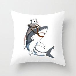 Opossum rides Shark Throw Pillow