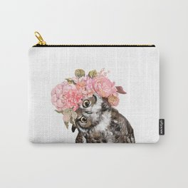 Owl with Beautiful Flowers Crown Carry-All Pouch