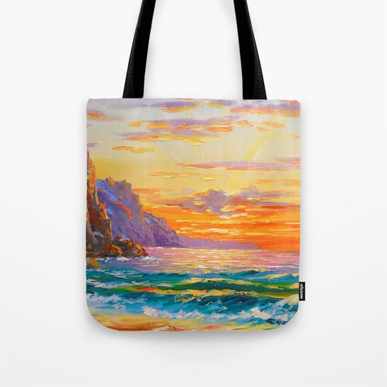 Sunset on the rocky shore Tote Bag