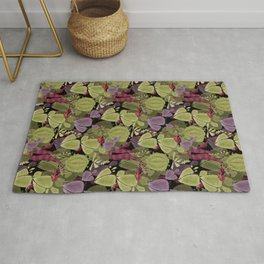 Cacti cactus and succulent watercolor effect style Rug