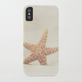 Starfish Beach Photography, Beige Cream Coastal Art, Neutral Seashore Photograph iPhone Case