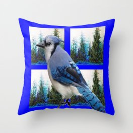 MOUNTAIN BLUE JAY SCENIC ART Throw Pillow