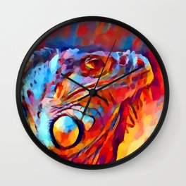 Iguana Watercolor Wall Clock