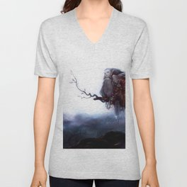 Spectacular Fantasy Fairy Pixie Crouching On Tree Branch Ultra HD Unisex V-Neck