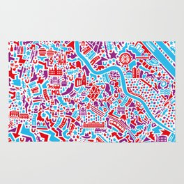 Vienna City Map Poster Rug