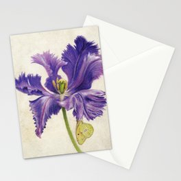 Open Purple Tulip and Butterfly Stationery Cards