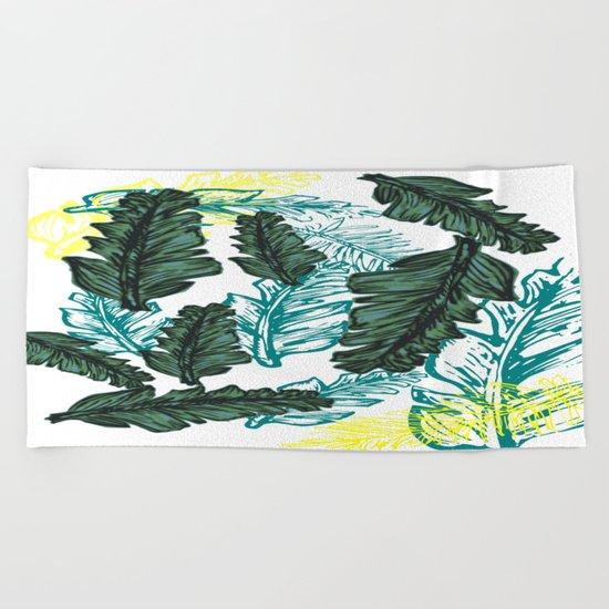 leaf mix1 Beach Towel