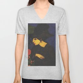Ernst Ludwig Kirchner Doris with Feather Hat 1914 Unisex V-Neck