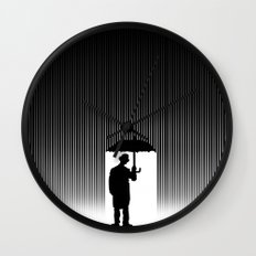 Charlie Chaplin Under The Rain Wall Clock