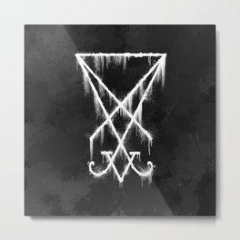 Sigil of Lucifer Watercolour Grunge Metal Print