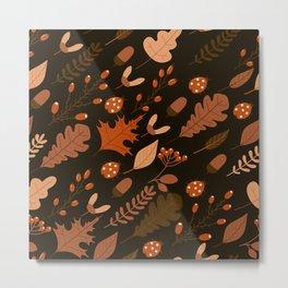 Autumn Leaves and Ladybugs Pattern Dark Metal Print