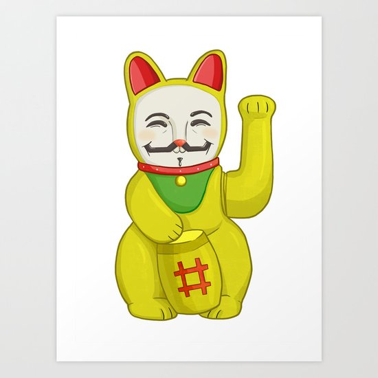 Occupy Lucky Cat Art Print