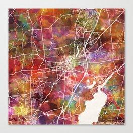 Saratoga Springs map Canvas Print