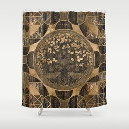 Tree of life -Yggdrasil - Wood Bark and Gold Shower Curtain