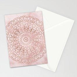 Misty pink marble rose gold mandala Stationery Cards