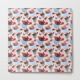Cute Succulent Pot Plant Pattern Metal Print