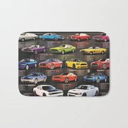 Charger - Challenger History Automotive Evolution Poster Bath Mat