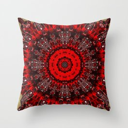 Bright Red and Gold Mandala Design Throw Pillow