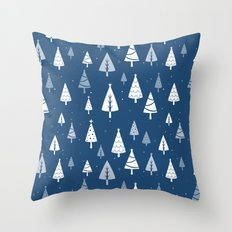 Christmas Tree Pattern (Blue) Throw Pillow