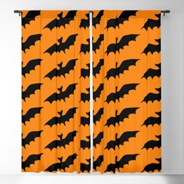 Black bats on an orange background in the style of Halloween Blackout Curtain