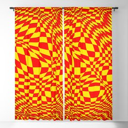 expanding checks, yellow red Blackout Curtain