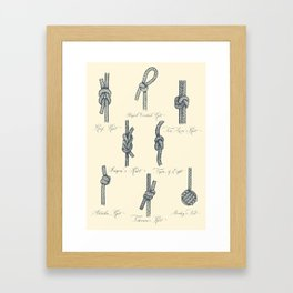 Nautical Knots (Beige and Gray) Framed Art Print