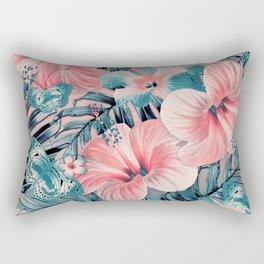 Vintage Jade Coral Aloha Rectangular Pillow