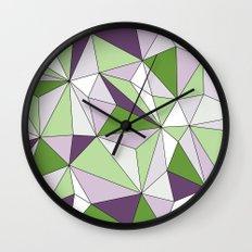 Geo - green, purple, gray and white. Wall Clock