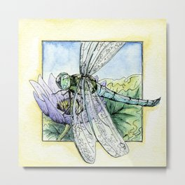 Purple Lily & Dragonfly Metal Print