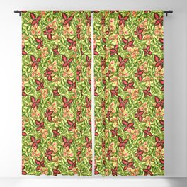 Scattered Coleus Plants Pattern - Yellow Blackout Curtain