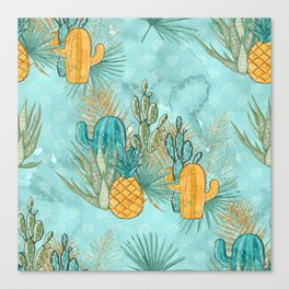 Cute Cactus & Pineapple Pattern Canvas Print