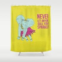 sparkle Shower Curtains featuring Sparkle by Dannie Ann