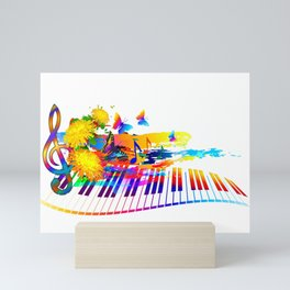 Colorful music instruments design Mini Art Print