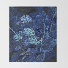 Hydrangea and Horseradish, Summer Plants, Floral Art Throw Blanket