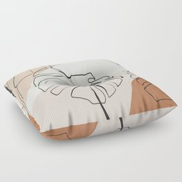 Minimal Abstract Art- Monstera Floor Pillow