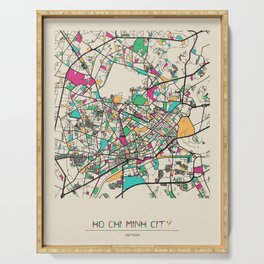 Colorful City Maps: Ho Chi Minh City, Vietnam Serving Tray