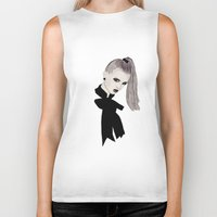 bow Biker Tanks featuring Bow by Melania B