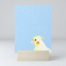 BIRD IN THE SNOW Mini Art Print